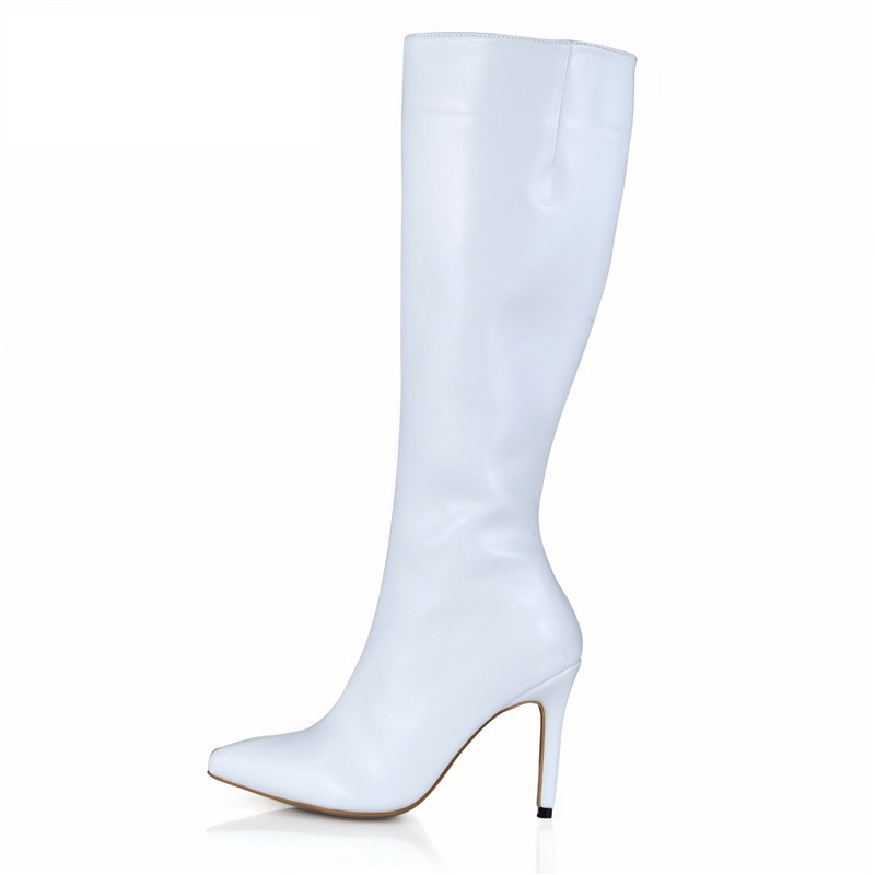 Thin heeled knee high boots with